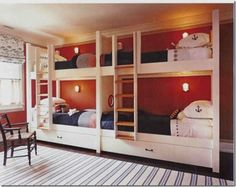 have kids? sailor style bunk beds, perhaps? a-hoy! ---- especially love the reading lamps on the walls