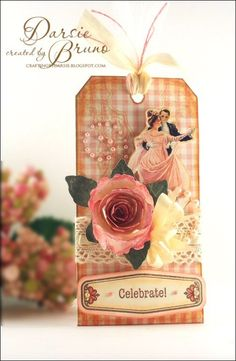 pretty tag using @JustRite Papercraft, Inc. With Gratitude Antique Labels and @Spellbinders Spiral Blossom One