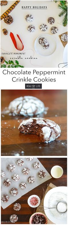 Chocolate Peppermint Crinkle Cookies are a holiday classic.  Showcasing dark chocolate with peppermint in a crisp outside with a chewy middle.  A dusting of confectioners sugar on the outside reminds you of snow while the inside reminds of candy canes and Santa Clause. - A Healthy Life For Me