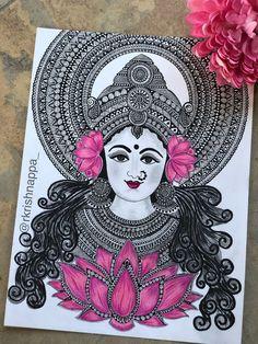 Hindu Goddess Lakshmi Art Print, Lotus Art Print - This is a fine art print of the original drawing done by me. The original drawing of this print was - Doodle Art Drawing, Zentangle Drawings, Mandala Drawing, Doodling Art, Watercolor Mandala, Mandala Doodle, Lotus Kunst, Lotus Art, Mandala Art Lesson