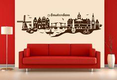 Muursticker Amsterdam Skyline