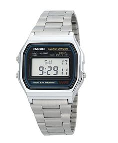 Men's Wrist Watches - Casio Mens  A158WA1DF Stainless Steel Digital Watch >>> Click on the image for additional details. (This is an Amazon affiliate link)