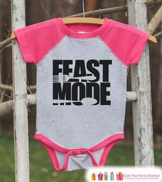 Kids Thanksgiving Outfit - Feast Mode Shirt - Girl Thanksgiving Outfit - Pink Raglan Tshirt or Onepiece - Toddler Thanksgiving Dinner Shirt