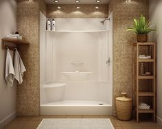 Low maintenance shower stall - prefab actual stall with pretty tile surrounding. Prefab All In One Bathroom