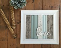 Start at Home on Etsy  Reclaimed Wood and molding framed love