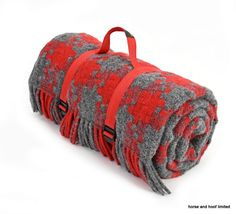Tweedmill Polo Pure New Lambswool Picnic Rug With Waterproof Backing Jigsaw Red