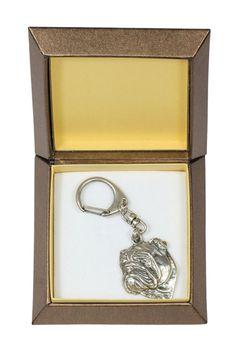 NEW Bulldog dog keyring key holder in casket by ArtDogshopcenter
