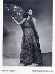 Robert Piguet 1937 Embroidery Evening Gown, Mrs Marc Chadourne, Photo André Durst