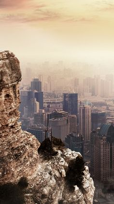 Cityscape Beside Mountain Cliff iPhone 6 Wallpaper