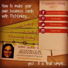 Make your own business cards using pic monkey. Very detailed tutorial with dimensions and blank image to start with.