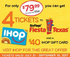 Coupons Are My Currency - 4 Six Flags Fiesta Texas tickets and a $40 IHOP gift card for $79.99!