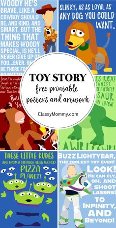 - Classy Mommy Are you planning a Toy Story Nursery Theme or Toy Story Bedroom theme for your kids? If so, check out these awesome Free Toy Story Printable Posters and Ar Free Toy Story Printable Posters and Artwork for Toy Story Nursery or Bedroom Theme Fête Toy Story, Toy Story Quotes, Toy Story Crafts, Toy Story Theme, Toy Story Alien, Toy Story Party, Toy Story Birthday, Toy Story Food, Boy Quotes