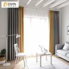 DIHIN HOME Exquisite Yellow and Grey Printed,Blackout Grommet Window Curtain for Living Room Panel - Modern Curtains - Curtain Living Room Decor Curtains, Ikea Living Room, Home Curtains, Living Room Grey, Home And Living, Modern Curtains, Living Rooms, Bedroom Drapes, Home Decor