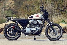 A Sportster turning to the dirt side is a thing we don't really see every day, but for David Zemla at Burly Brand, this was an old dream. And believe it or not, a Harley-Davidson makes a wonderful scrambler if creativity is in the game, too. Harley Sportster 1200, Harley Davidson Sportster, Sportster Scrambler, Harley Scrambler, Scrambler Motorcycle, American Motorcycles, Cool Motorcycles, Dual Sport, Sr500