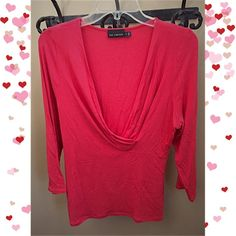 The Limited Orange/Red 3/4 Sleeve Wrap Neck Top Top is in good condition. Worn only a couple of times. Very tiny hole under the ruching near the chest from using a brooch to keep the neckline closed together. No trades. Ask any questions. Bundle with my other items to save! The Limited Tops