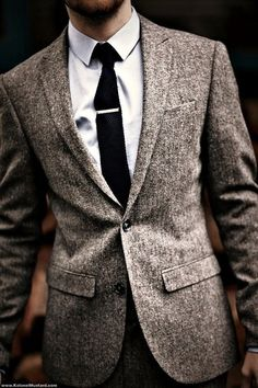 Gray- white blend wool blazer with a textured tie. This is a way to make boring colors interesting