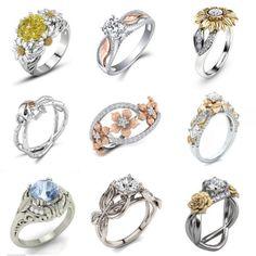 Daisy Flower 925 Silver Ring Women Citrine White Topaz Jewelry Wedding Size 6-10 in Jewelry & Watches, Fashion Jewelry, Rings | eBay