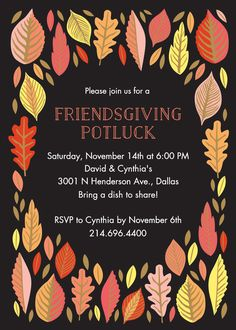 The Thanksgiving season brings so much to be thankful for. Send your friends this adorable invitation to celebrate Friendsgiving dinner.Printed on white 130 lb cover paper with a tactile vellum finish. Potluck Invitation, Invitation Paper, Diy Party Invitations, Invite, Thanksgiving Wishes, Thanksgiving Celebration, Thanksgiving 2020, Thanksgiving Invitation, Christmas Trivia
