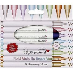 PAPERMANIA FLUID METALLIC BRUSH MARKER CRAFTS PENS 8 SHIMMERY COLOURS