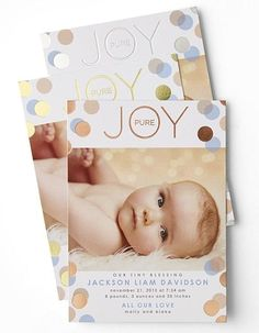 Baby brings joy and so should their introduction to the world. Personalize birth announcements at Tiny Prints.