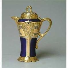 Blue & Gold Art Nouveau Limoge Chocolate Pot