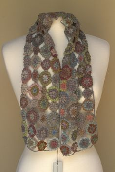 Sophie Digard ~ Jurassic Pop Small Scarf ~ Cushy merino wool hand crocheted scarf. 6 x 40 inches ~ The French Needle