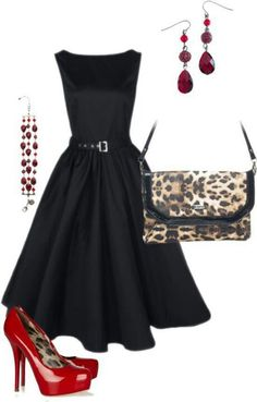 black cocktail dress, red shoes, leopard print handbag.