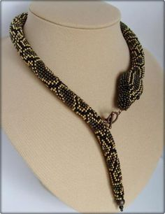 bead crochet snake necklace. See how to attach closure.