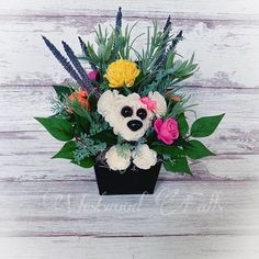 Adorable Puppy Floral Arrangement With Sola Wood Flowers Sola Wood Flowers, Cute Puppies, Floral Arrangements, Wreaths, Halloween, Home Decor, Decoration Home, Door Wreaths, Room Decor