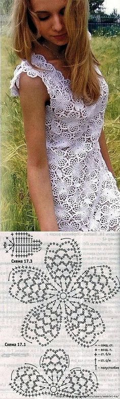Crochet Dress - Free Crochet Diagram - (postila) by carlani Débardeurs Au Crochet, Gilet Crochet, Crochet Stitches Free, Crochet Diagram, Crochet Woman, Crochet Blouse, Irish Crochet, Knitting Patterns Free, Crochet Patterns