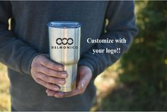 Your Logo or Business Logo Coffee Travel Cup, 20oz Tumbler, Personalized Eco Friendly Gift Stainless Steel YETI or RTIC brand by SwissMissCloset on Etsy