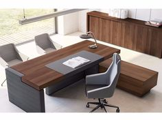 L-SHAPED EXECUTIVE DESK WITH SHELVES JERA | OFFICE DESK WITH SHELVES | LAS MOBILI