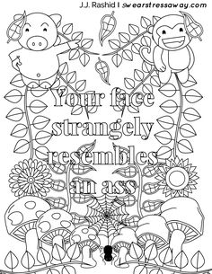 bullshit coloring page - stop polluting the air with your bullshit adult coloring
