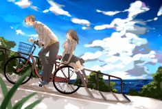 anime boy and anime girl on bike Anime Love Couple, I Love Anime, Cute Anime Couples, Manga Love, Cycling Art, Favim, Anime Artwork, Cute Images, Anime Scenery