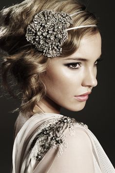 Johanna Johnson Harlow Headpiece with Ivory Ribbon