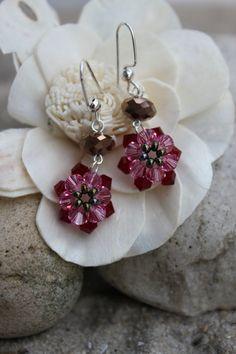 Swarovski Crystal Beadwork Dangle Earrings