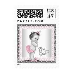 Pink Gray Vintage Baby Shower Postage #postage #stamps #customstamps #mail #invites #letters #postage #postage stamp