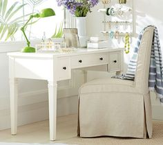 This would be great as a nightstand / desk for the master || Meredith Vanity Desk | Pottery Barn