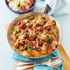 Kycklingpanna med bacon och senapssås Monkey Business, Meat Chickens, Hawaiian Pizza, Potato Salad, Curry, Food And Drink, Ethnic Recipes, Curries