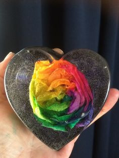 rainbow rose in resin.floral preservation . Unique