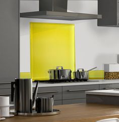 Lemon yellow kitchen glass splashback