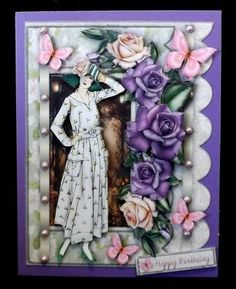 Charlotte female card on Craftsuprint designed by Sallyanne O'Connell - made by Suzi Cooper - I printed onto glossy photo card then mounted onto a purple card blank using DST. I assembled the decoupage using 2mm foam pads. I added the matching insert then finished with pearls. - Now available for download!