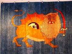 Persian tribal gabbeh Lion original  4x6  iran blue sun  hand made carpet wool #Gabbeh #GabbehLion