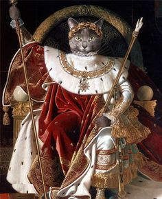 Portrait of Napoléon cat on the imperial throne by Fat Cat Art