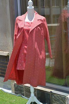 Red shweshwe cotton coat