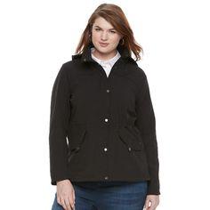 Plus Size Weathercast Hooded Anorak Jacket, Women's, Size: 1XL, Black