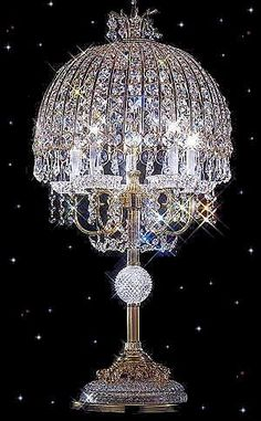 The finest in Strass crystal table lamps, floor lamps, and boudoir lamps in the finest Strass or Swarovski crystal from Squitti's. Antique Chandelier, Antique Lamps, Antique Lighting, Glass Chandelier, Vintage Lamps, Chandelier Lighting, Chandelier Table Lamp, Cristal Art, I Love Lamp