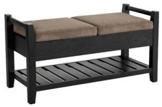 Upholstered Bench With Storage Shelf