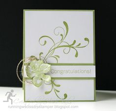 Stamps: Everything Eleanor, Bravo; Paper: Pear Pizzazz, Whisper White; Ink: Pear Pizzazz, Versamark; Accessories: Linen thread, Clear embossing powder, Crystal Effects, Sponge.