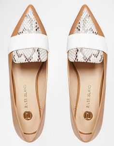 Image 3 ofRiver Island Snake Effect Shoes With Pointed Toe